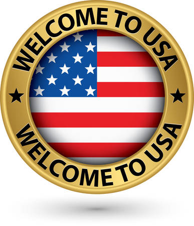 Welcome to USA gold label with flag, vector illustration