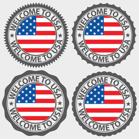 Welcome to USA label set, vector illustration