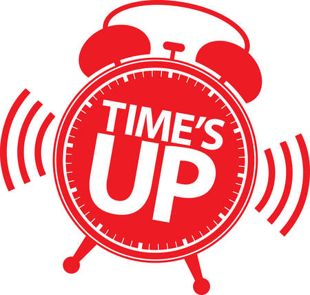 Time's up red sign, vector illustration