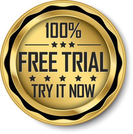 100% free trial gold label, vector illustration 向量圖像