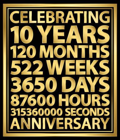 Celebrating 10th anniversary gold banner, 10 years vetor illustration