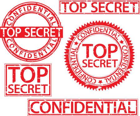 Top secret stamp set, confidential sign, vector illustartion Illustration