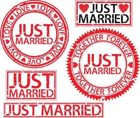 Just married stamp set, vector illustartion Illustration