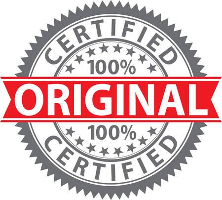 Timbre original, badge original 100% certifié, illustration vectorielle Vecteurs