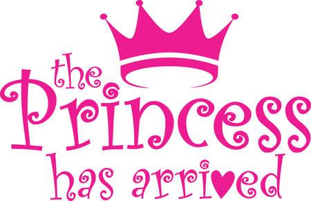 The princess has arrived label, vector illustration Illustration