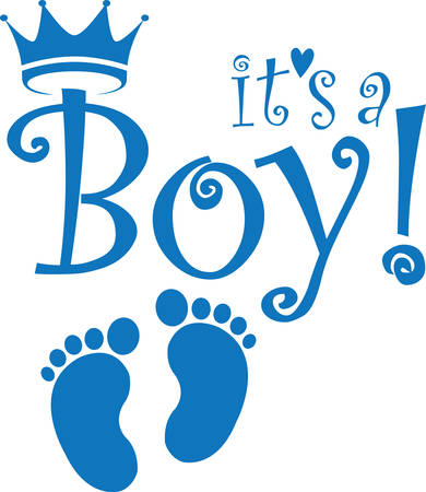 It's a boy banner, vector illustration Çizim