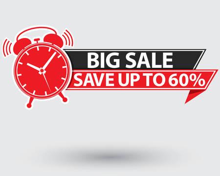 Big sale red label, big sale alarm clock , vector illustration