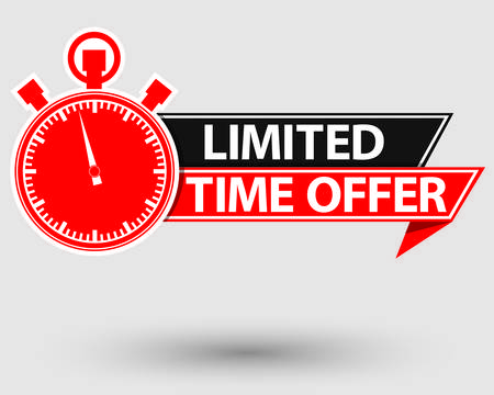 Limited time offer red label, last chance stopwatch , vector illustration