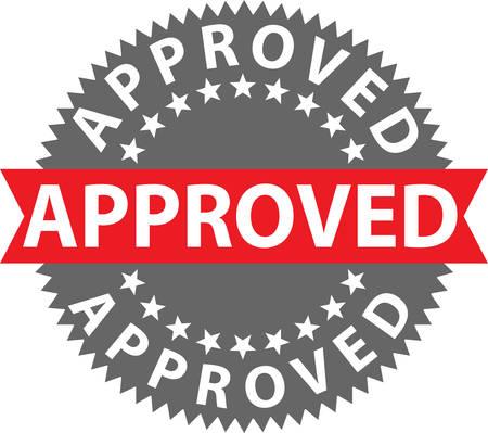 Approved stamp, certified badge, vector illustration Illustration