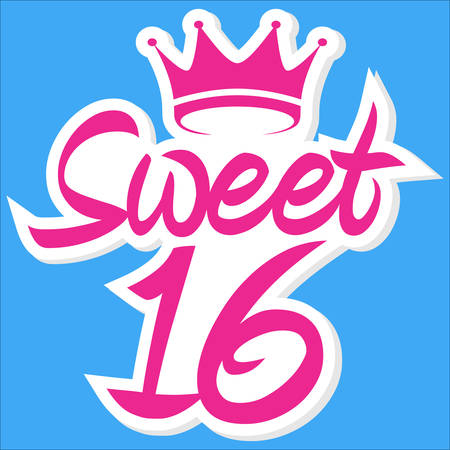 Sweet 16 greeting card with crown, celebrating 16th anniversary, vector illustration