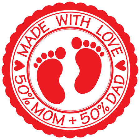 Made with love sign with baby footprint, 50% Mom + 50% Dad, vector illustration