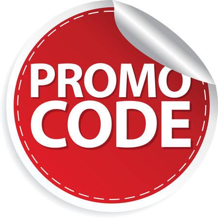 Promo code red sticker, vector illustration