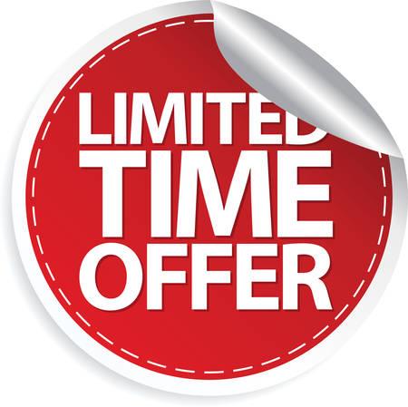 Limited time offer red sticker, vector illustration