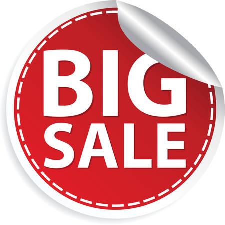 Big sale red sticker, vector illustration  Illustration