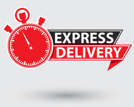 Express delivery red label, express delivery stopwatch , vector illustration