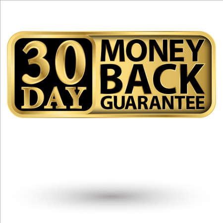 30 day money back guarantee golden label, vector illustration 向量圖像