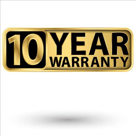 10 year warranty golden label, vector illustration 向量圖像