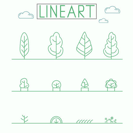 graphical: Graphical lineart style icon set. Urban Planths and Trees. Illustration