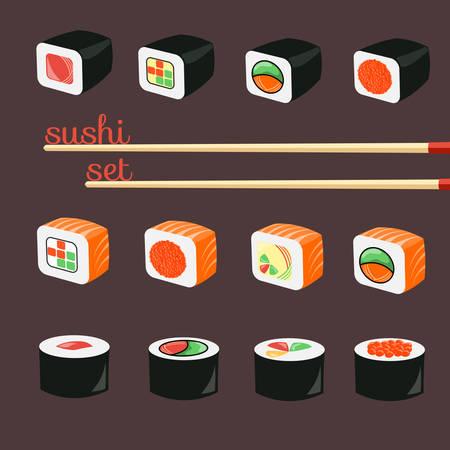 exoticism: Flat Sushi Icons Set. Asian Menu Illustration