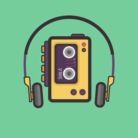 cassette tape: Retro Cassette Player Flat Style Vector Icon. Easy Scalable Vintage Music Player from 80s.