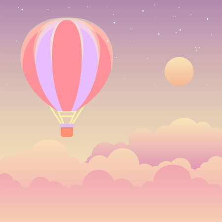 Hot Air Balloon in the Sky with Stars and Clouds Flat Style Vector Illustration