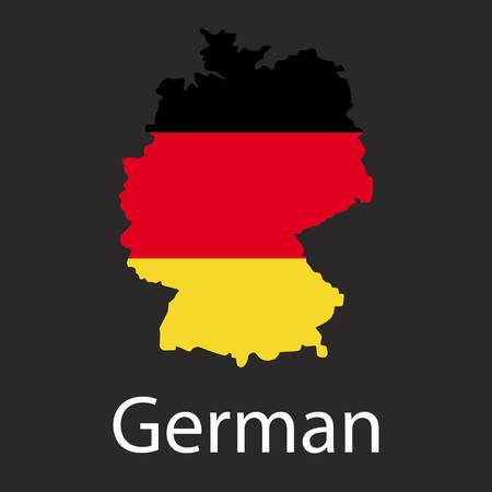 Kaart van Duitsland Land in kleur van de nationale vlag. Silhouet van het land op donkere achtergrond.