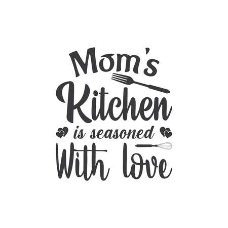 Mom's Kitchen is seasoned with love. T-Shirt Typography, Kitchen T-shirt Design, Illustration Vector Design