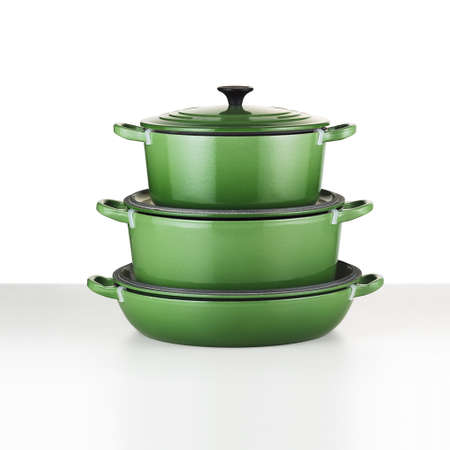 cookware: Green cookware,with clipping path