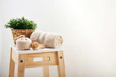 barstool: objects to the baths in a wooden bench Stock Photo