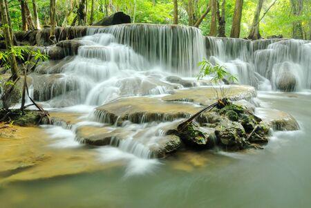 Huay Mae Khamin Waterfall, Paradise waterfall in deep jungle of Thailand Stock Photo - 22209879