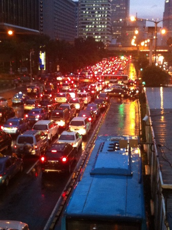 jakarta: Jakarta street during rush hour is extremely frustrating. With the addition of pouring rain even a light one the main street will turn into massive parking lot.