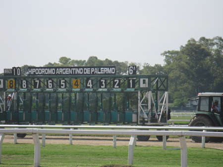 Horse race starting line  Editorial