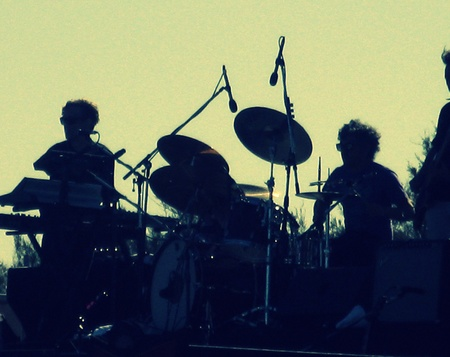 Music band silhouette, Infrared-film style