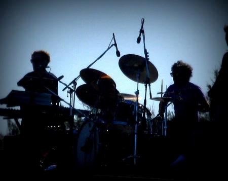live entertainment: Musica silhouette band, stile Lomo Archivio Fotografico