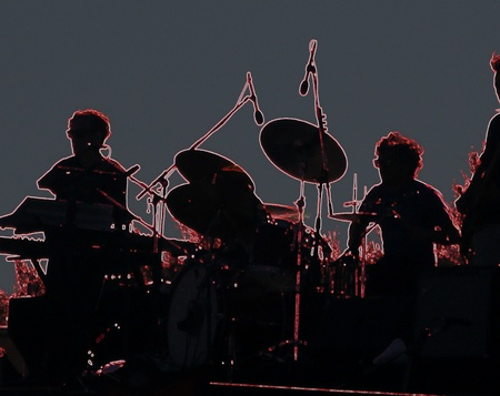 Music band silhouette, Neon style Stock Photo