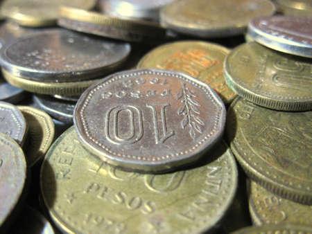 oude munten: Argentijnse oude munten 77 Stockfoto