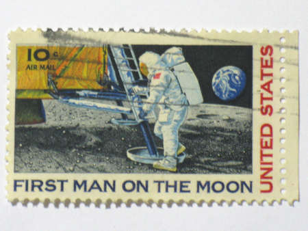 US 1st man on moon stamp, circa 1969 photo