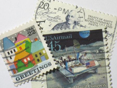 Amerikaanse postzegels, circa 1986 Stockfoto