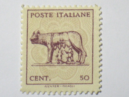 Italian fable she-wolf stamp, circa 1944