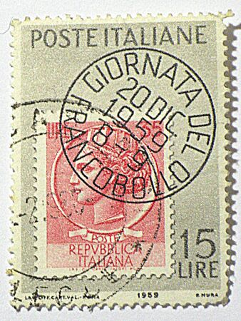 Italian postage stamp, circa 1959 photo