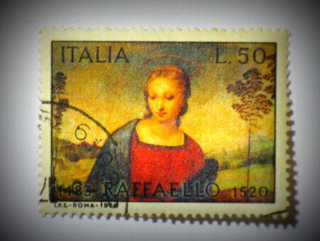 Italian madonna stamp, circa 1970 Stock Photo - 13289680