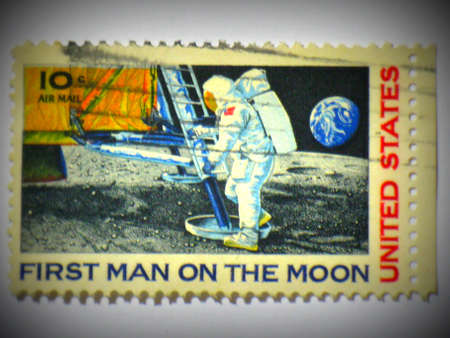 Amerikaanse 1e man op de maan stempel, circa 1969, Lomo stijl Redactioneel