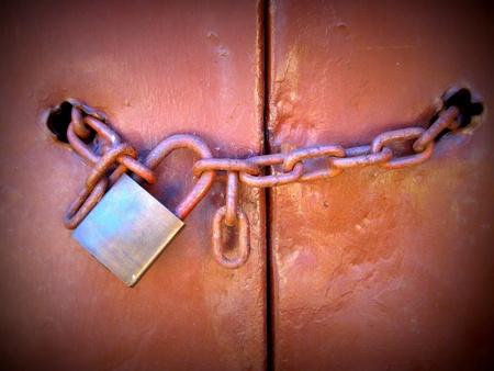 Padlock and chain, (Lomo style) Stock Photo