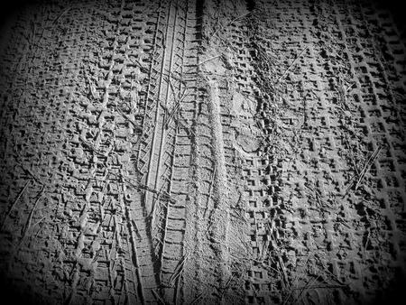 Wheel prints,  in Holga style  Stock Photo