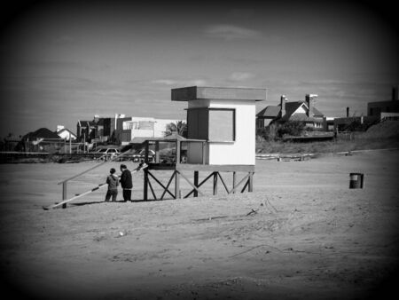 Lifeguard tower,  in Holga style  photo