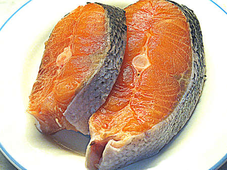 Frozen salmon slices photo