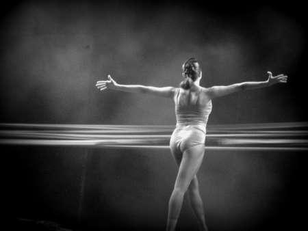 lyrical dance: Ballet dancer (B and W) Stock Photo