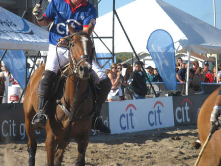 Pinamar beach (Sea Avenue crossing Retama Street), Argentina, January 2, 2013, open door exhibition, Beach Polo Sancor Grand Slam
