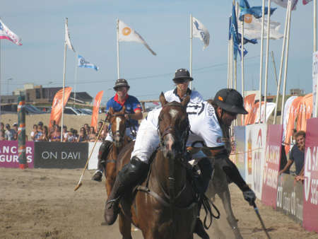 Pinamar beach (Sea Avenue crossing Retama Street), Argentina, January 6, 2013, open door exhibition, Beach Polo Sancor Grand Slam