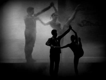 lyrical dance: Dancers silhouette (blackwhite) Stock Photo